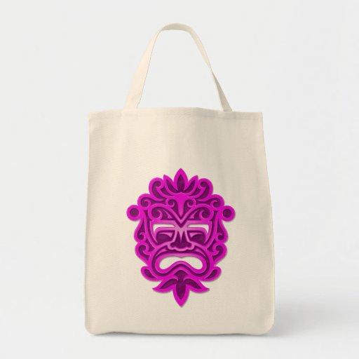 Máscara azteca púrpura bolsas de mano