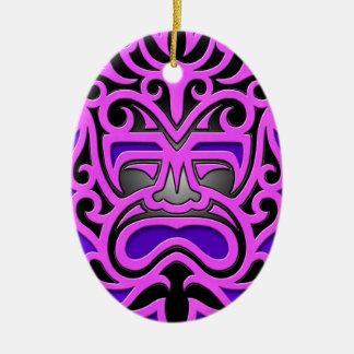 Máscara azteca púrpura adorno ovalado de cerámica