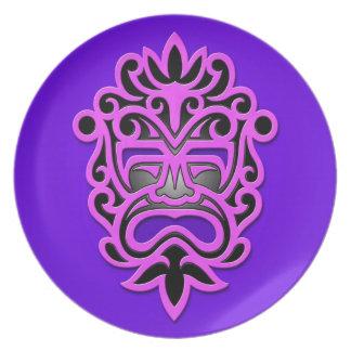 Máscara azteca púrpura plato de comida