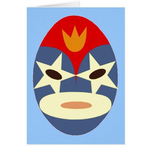 Máscara azul de Lucha Libre Tarjeta De Felicitación