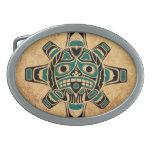 Máscara azul de Sun del Haida del trullo del vinta Hebillas Cinturon