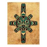 Máscara azul de Sun del Haida del trullo del vinta Postal