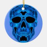 Máscara azul del horror del cráneo ornaments para arbol de navidad