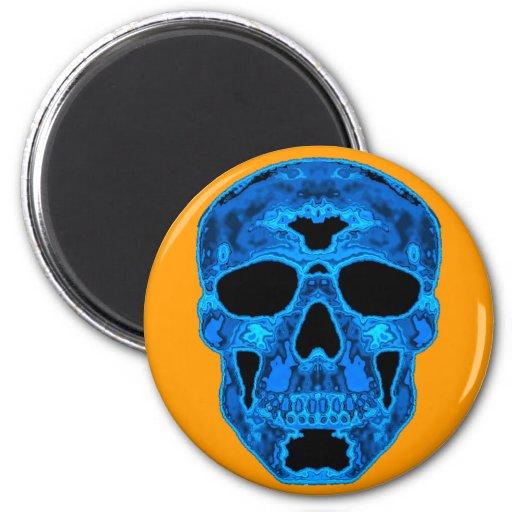 Máscara azul del horror del cráneo imán de frigorifico