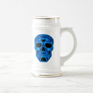 Máscara azul del horror del cráneo jarra de cerveza
