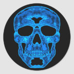 Máscara azul del horror del cráneo pegatina redonda