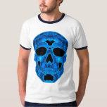 Máscara azul del horror del cráneo playera