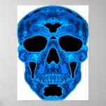 Máscara azul del horror del cráneo poster
