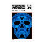Máscara azul del horror del cráneo sello