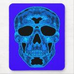 Máscara azul del horror del cráneo tapetes de ratón