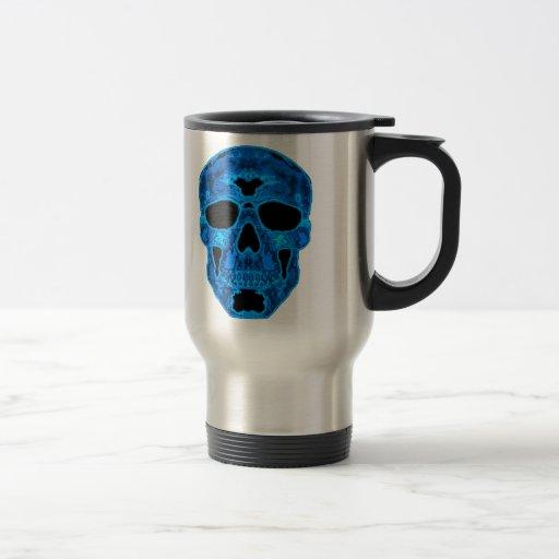 Máscara azul del horror del cráneo taza de viaje