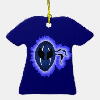 Máscara azul rayada de Ninja con el fuego azul Nim Ornamentos De Reyes