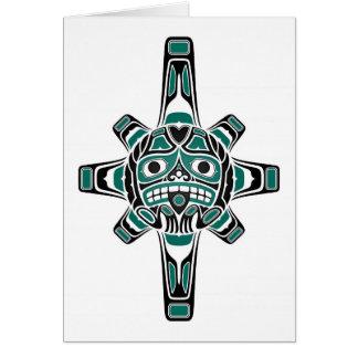Máscara azul y negra del trullo del Haida de Sun e Tarjeta De Felicitación