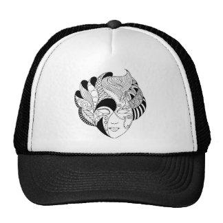 máscara blanco y negro del lineart gorras