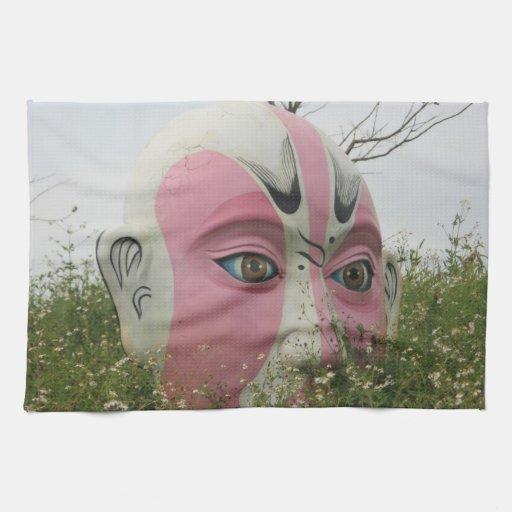 Máscara china de la ópera, Chiayi, Taiwán Toallas De Cocina
