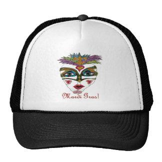 Máscara colorida de la pluma del brillo del carnav gorros