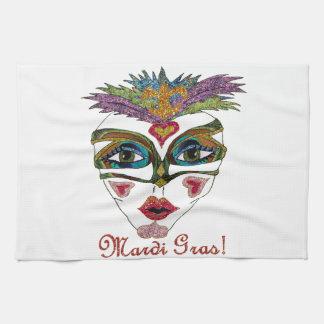 Máscara colorida de la pluma del brillo del carnav toalla