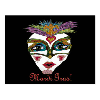 Máscara colorida de la pluma del brillo del carnav tarjeta postal