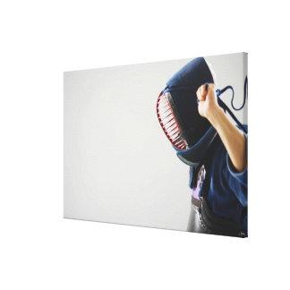 Máscara de la cerradura del cercador de Kendo Lienzo Envuelto Para Galerías
