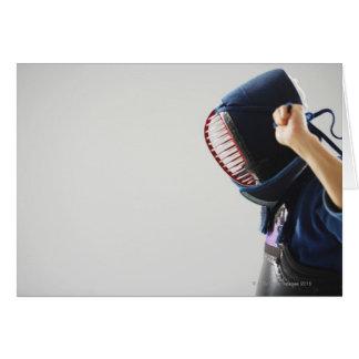 Máscara de la cerradura del cercador de Kendo Tarjeta De Felicitación