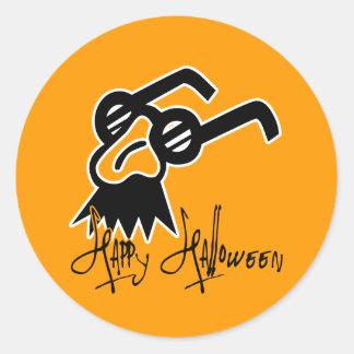 Máscara de la comedia del feliz Halloween Pegatina Redonda