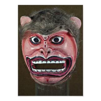 """Máscara de la danza en la forma de mono invitación 5"""" x 7"""""""