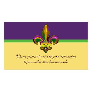 Máscara de la flor de lis tarjetas de visita
