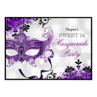"""Máscara de la joya y dulce púrpura 16 de la invitación 4.5"""" x 6.25"""""""