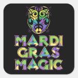 Máscara de la magia del carnaval calcomanía cuadradase