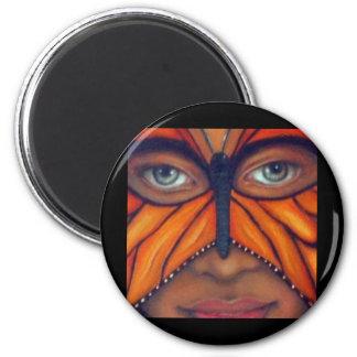 Máscara de la mariposa imán redondo 5 cm