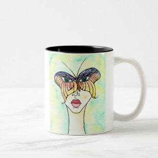 Máscara de la mariposa taza de dos tonos