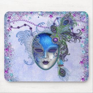Máscara de la mascarada de la pluma del pavo real alfombrilla de raton