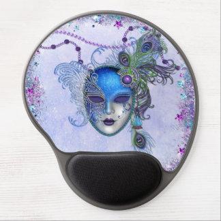 Máscara de la mascarada de la pluma del pavo real alfombrilla de ratón con gel