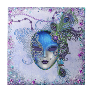 Máscara de la mascarada de la pluma del pavo real azulejo cuadrado pequeño