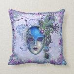 Máscara de la mascarada de la pluma del pavo real almohadas