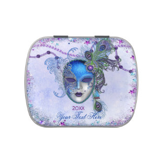 Máscara de la mascarada de la pluma del pavo real jarrones de caramelos