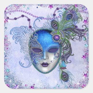 Máscara de la mascarada de la pluma del pavo real pegatinas cuadradas personalizadas