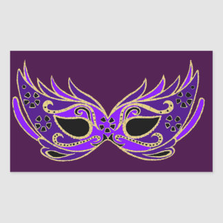 Máscara de la mascarada de la púrpura real pegatina rectangular