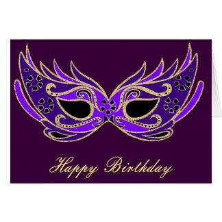 Máscara de la mascarada de la púrpura real tarjeta de felicitación
