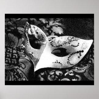Máscara de la mascarada del vintage póster