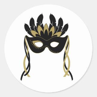 Máscara de la mascarada en pegatinas del negro y pegatina redonda