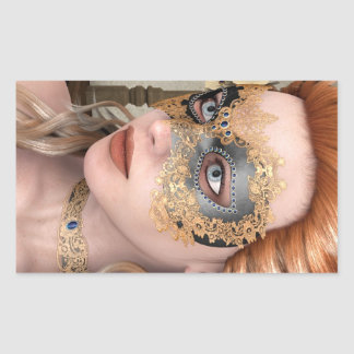 Máscara de la mascarada rectangular pegatina