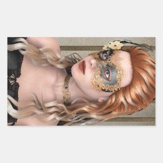 Máscara de la mascarada rectangular pegatinas