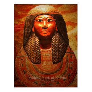 Máscara de la momia de Khonsu 1279-1213 B.C Tarjetas Postales