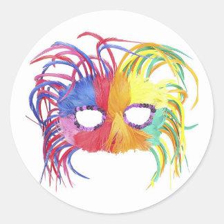 Máscara de la pluma del carnaval del KRW Pegatinas Redondas