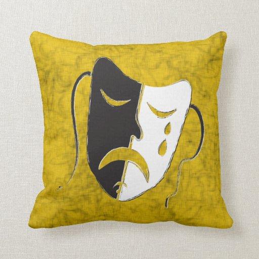 Máscara de la tragedia almohada