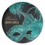 Máscara de la turquesa del cumpleaños del platos