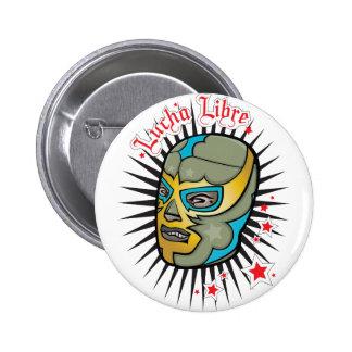 Máscara de lucha mexicana de Lucha Libre Pin Redondo De 2 Pulgadas