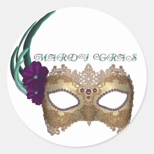 Máscara de lujo del carnaval del KRW Pegatina Redonda