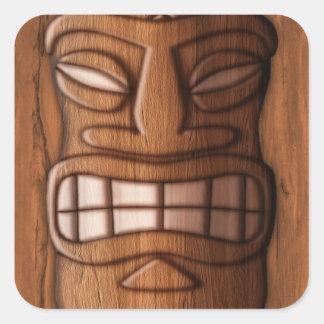 Máscara de madera de Tiki Calcomanías Cuadradass